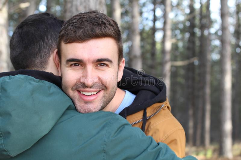 Happy gay man feeling loved.  royalty free stock photography
