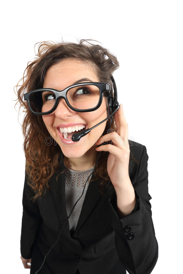 Happy geek telephone operator woman attending a call. Isolated on a white background stock photos