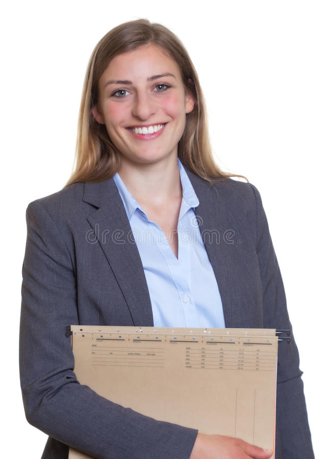 Free Happy German Businesswoman With File Stock Image - 54862341