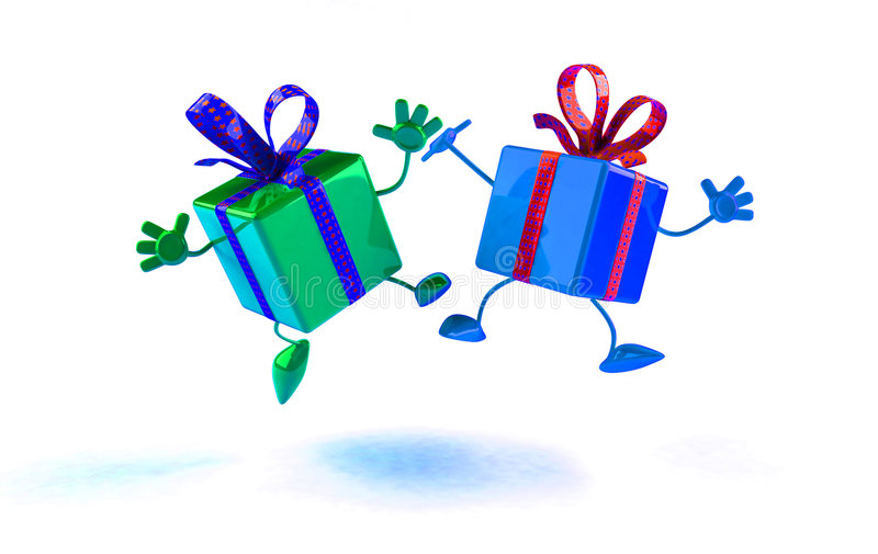 Happy gifts royalty free illustration