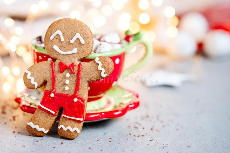 Happy gingerbread cookie man. Gingerbread cookie man and hot chocolate with marshmallow royalty free stock images