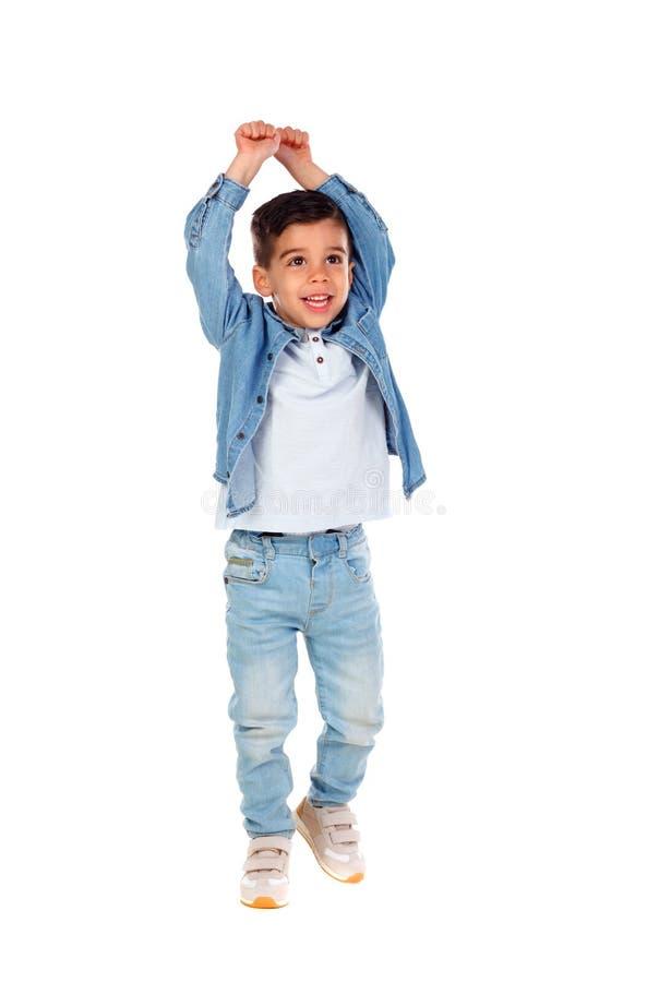Happy gipsy child dancing stock photo