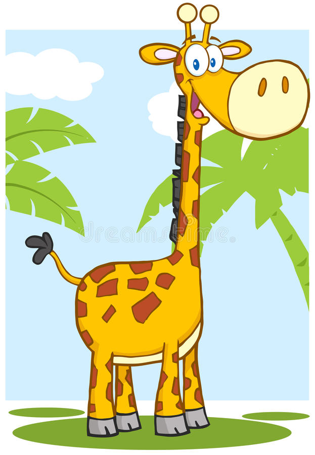 Happy Giraffe Cartoon Character With Background stock illustration