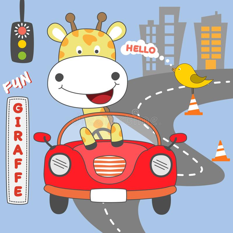 Happy giraffe girl driving red car. Vector illustration. royalty free stock photos