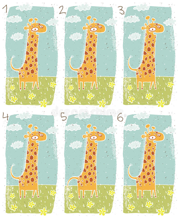 Free Happy Giraffe Visual Game Royalty Free Stock Image - 29842076
