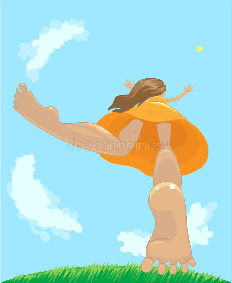 Happy girl. Happy little girl jumped off the ground to catch the butterfly royalty free illustration