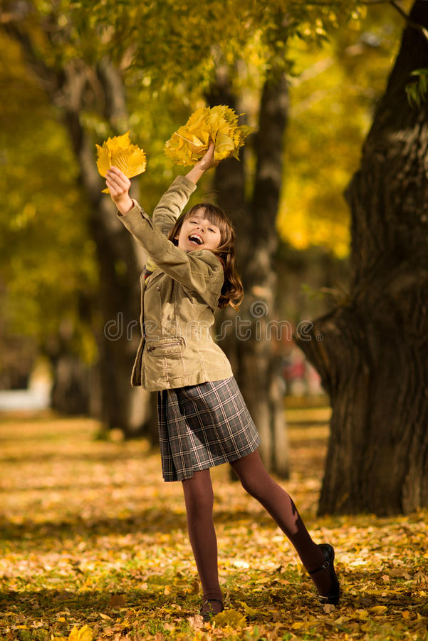 Download Happy girl stock photo. Image of leaf, cute, gladness - 27511284