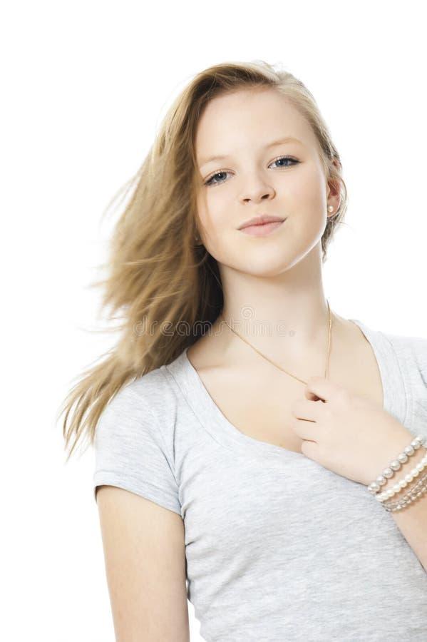Happy girl. Young happy girl isolated on white stock image