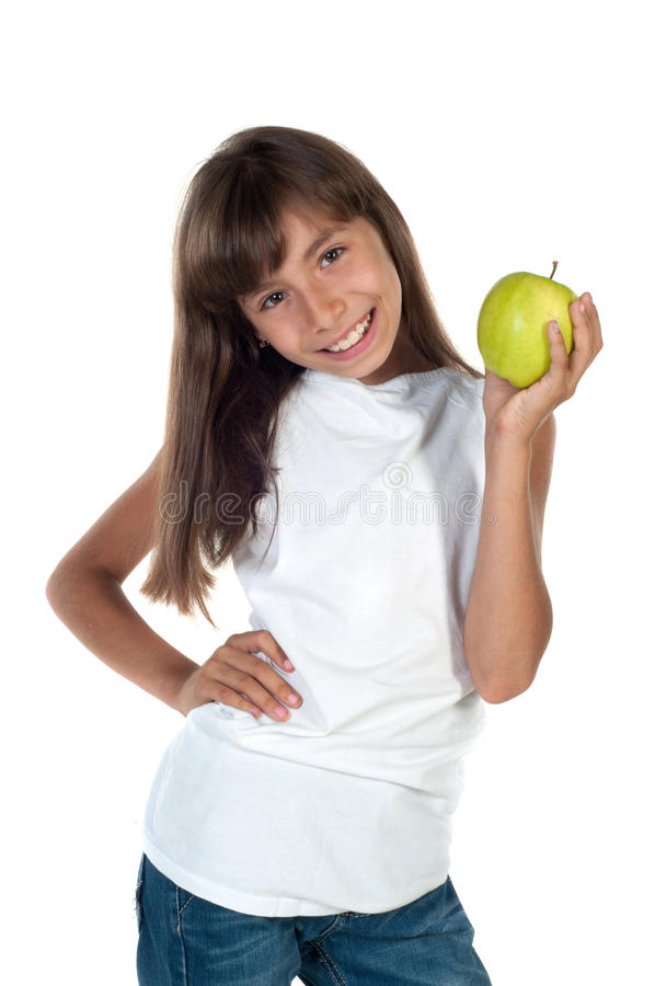 Happy girl with apple royalty free stock photos