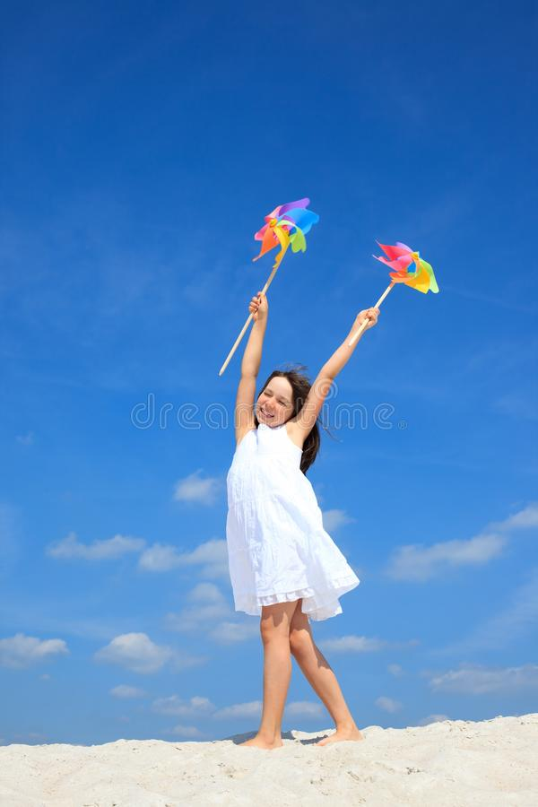 Happy girl on beach royalty free stock images
