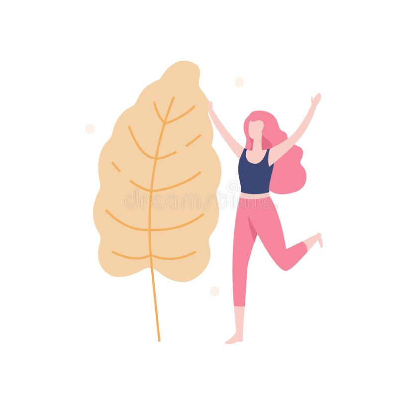 Happy girl and the big leaf isolated on white background, vector illustration in flat design. People having reunion with. Nature concept illustration vector illustration