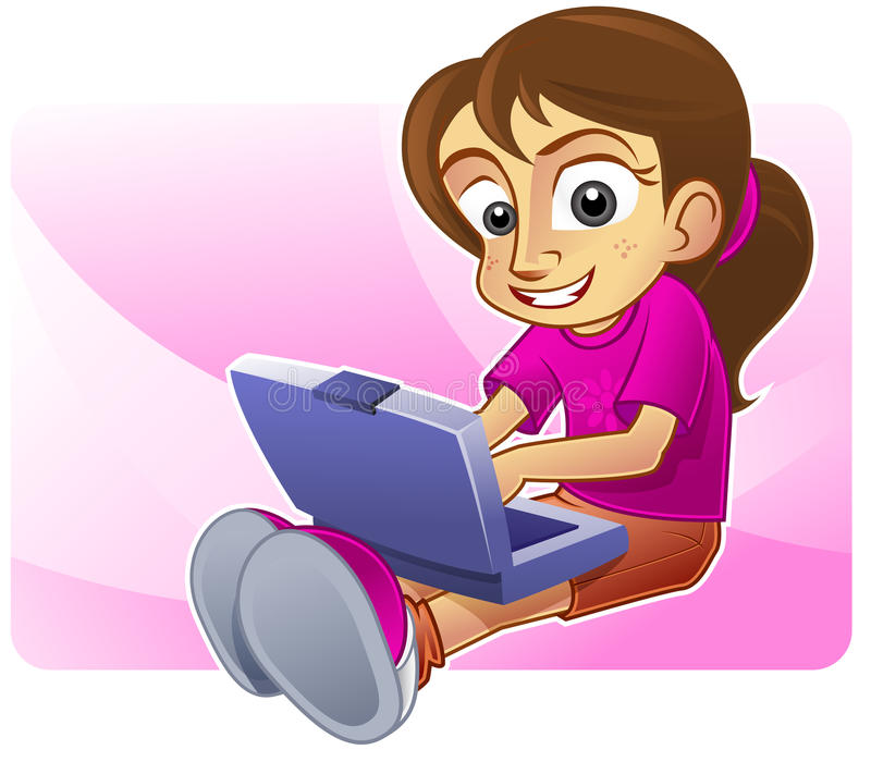 Download Happy girl blogging stock illustration. Image of girl - 11078877