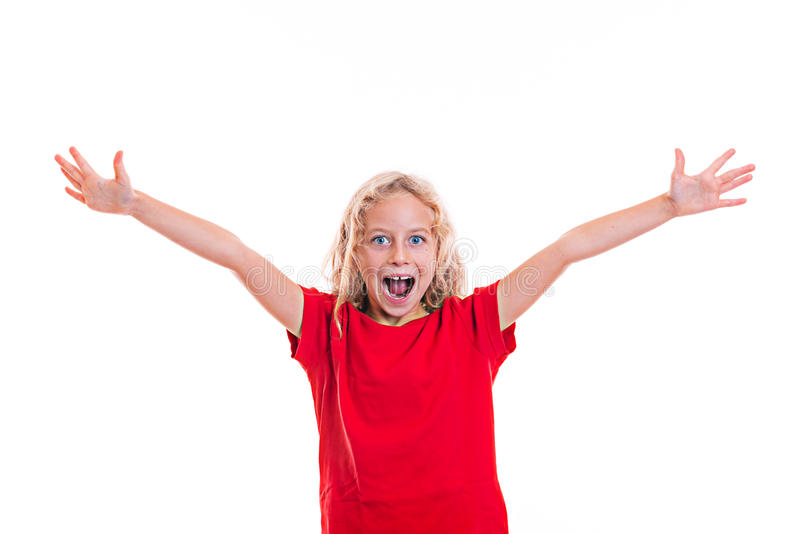 Happy girl with blond hair. And red shirt stock image