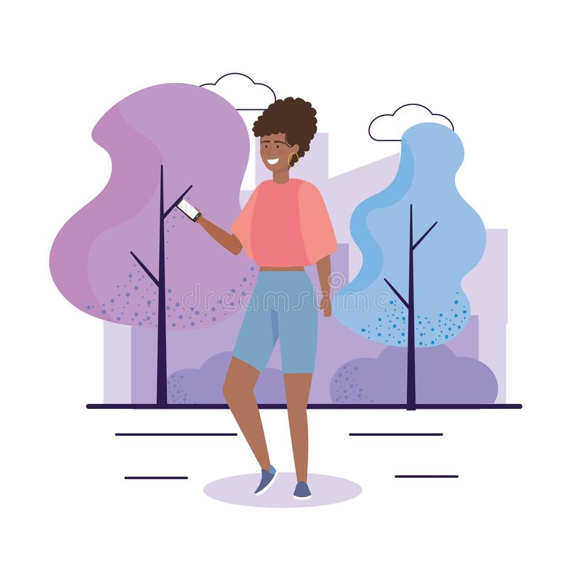 Happy girl with blouse and short with hairstyle. To youth day vector illustration royalty free illustration