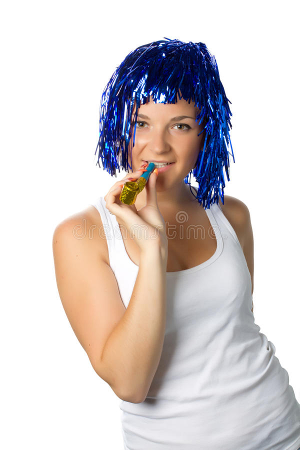 Happy girl with blue wig ready for party stock images