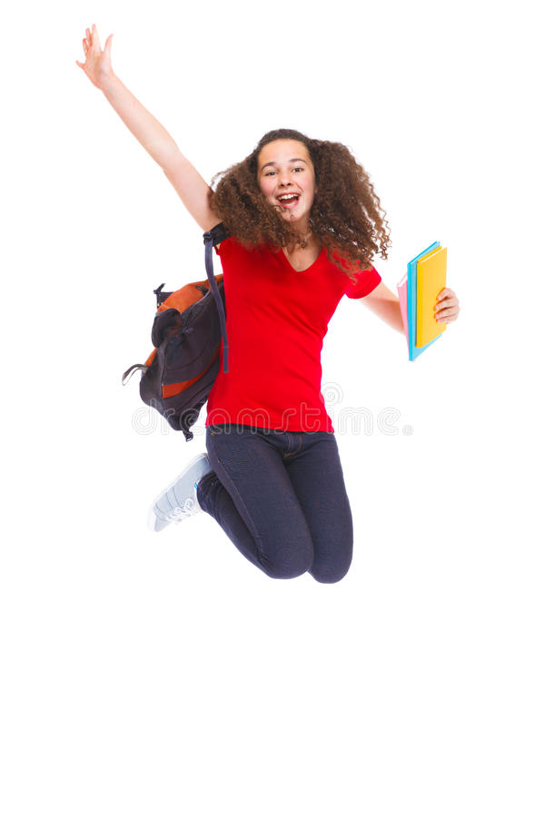 Happy girl with books stock photography