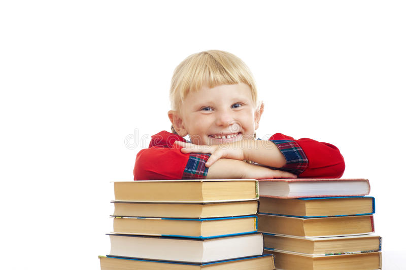 Happy girl with books stock images