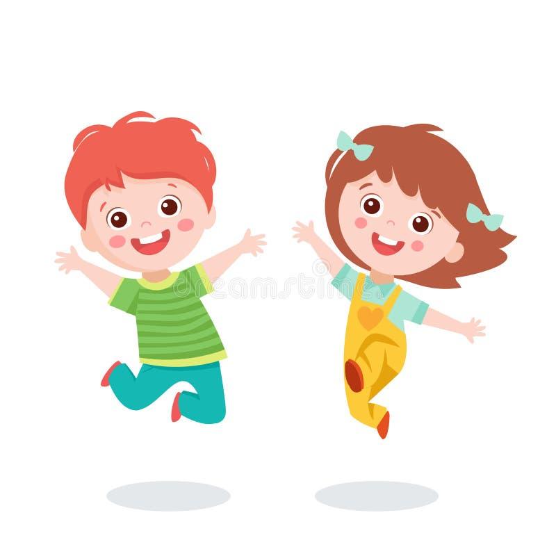 Happy Girl and Boy Jumping Together vektor abbildung