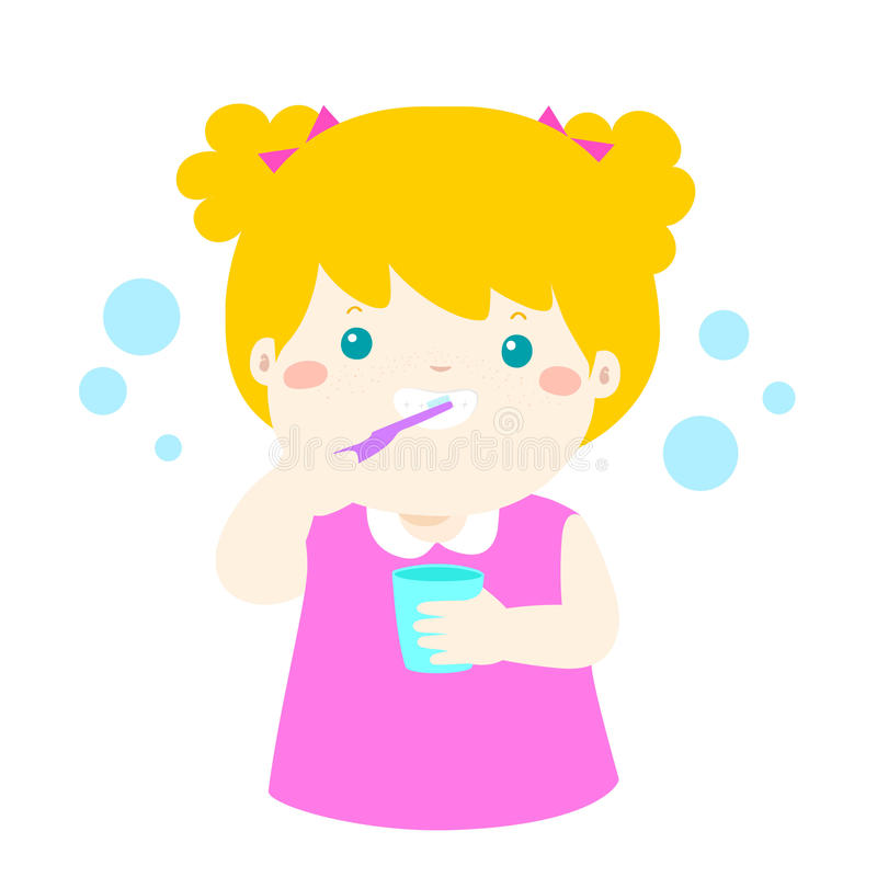 girl brushing teeth clipart. download happy girl brushing teeth cartoon stock vector image 95806679 clipart