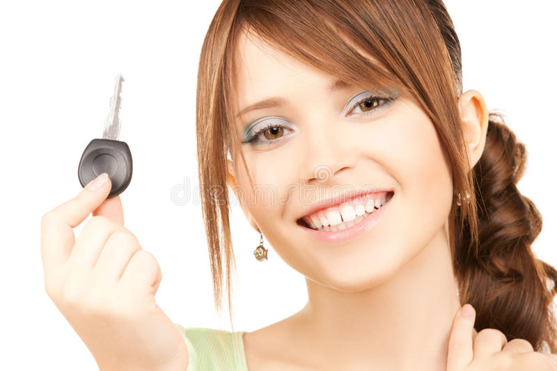 Download Happy girl with car key stock photo. Image of credit - 38098348