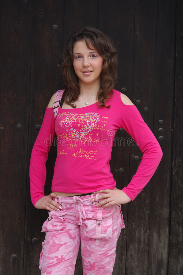 Happy girl in casual clothes royalty free stock image