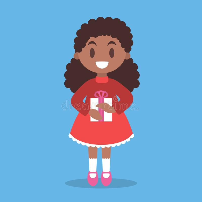 Happy girl child in red dress holding gift box. Cute character, winter holiday. Kid in warm clothes. Isolated vector illustration in flat style vector illustration