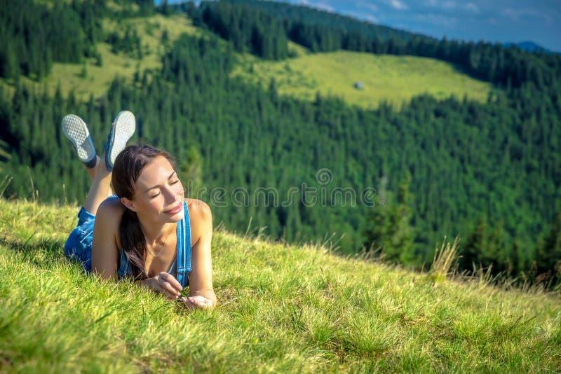 Happy girl in Carpathian mountains stock photos