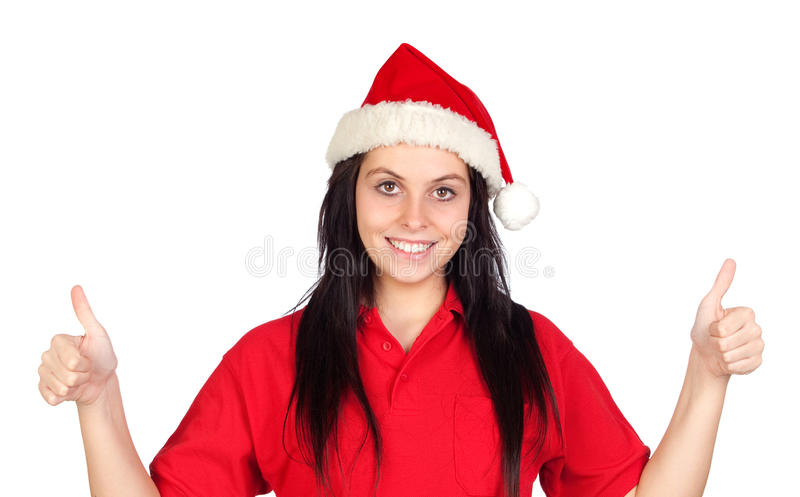Download Happy Girl With Christmas Hat Saying Ok Stock Image - Image of people, caucasian: 16477925