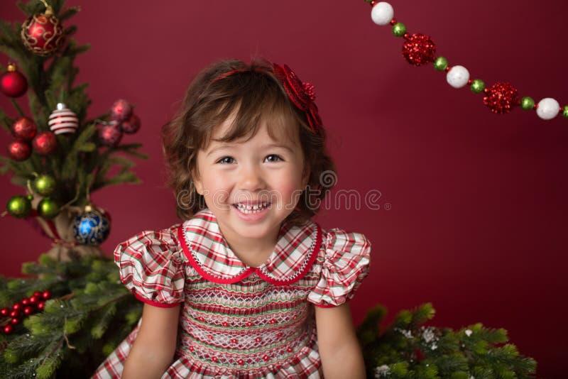 Happy Girl on Christmas, Winter Setup royalty free stock images