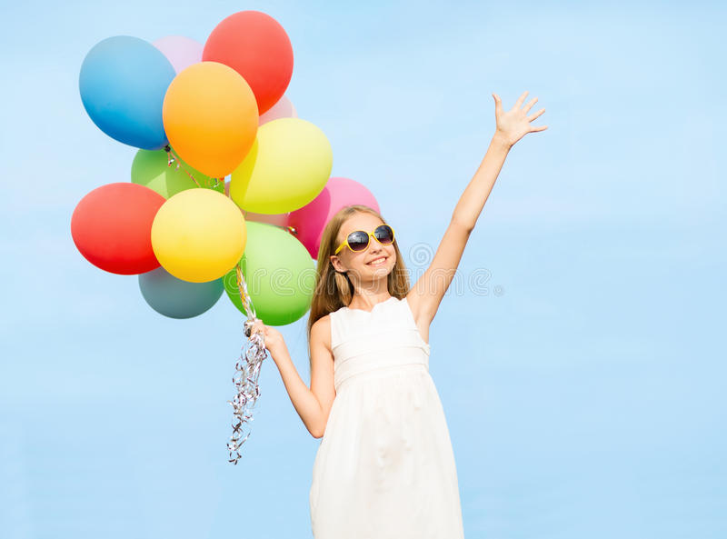 Download Happy Girl With Colorful Balloons Stock Photo - Image: 34953000