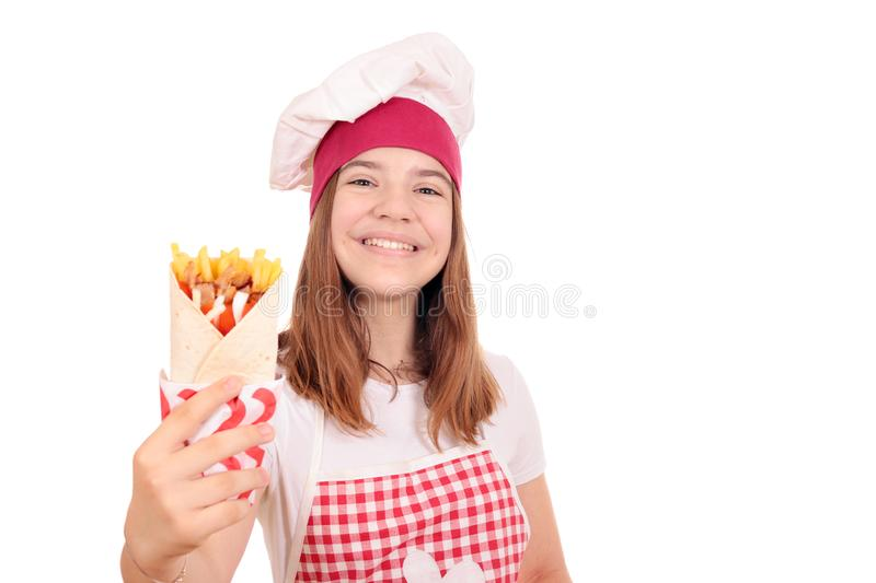 Happy girl cook with gyros pita stock photography