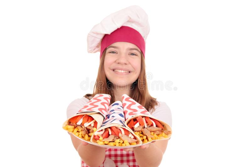 Girl cook with gyros pita fast food stock photo