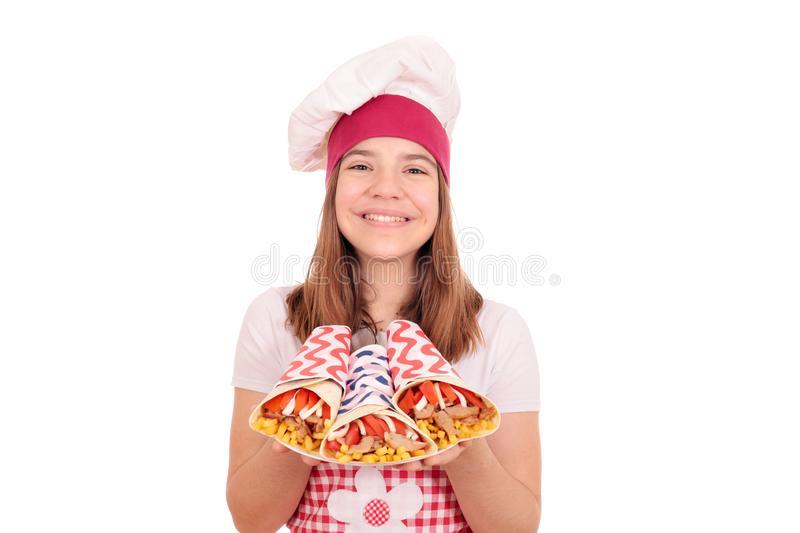 Girl cook with gyros pita fast food royalty free stock photos
