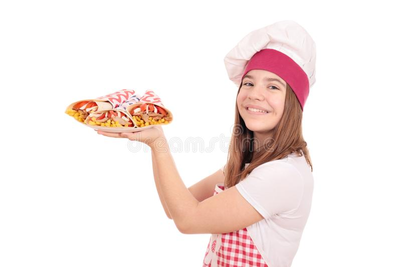 Girl cook with gyros pita fast food on plate stock images