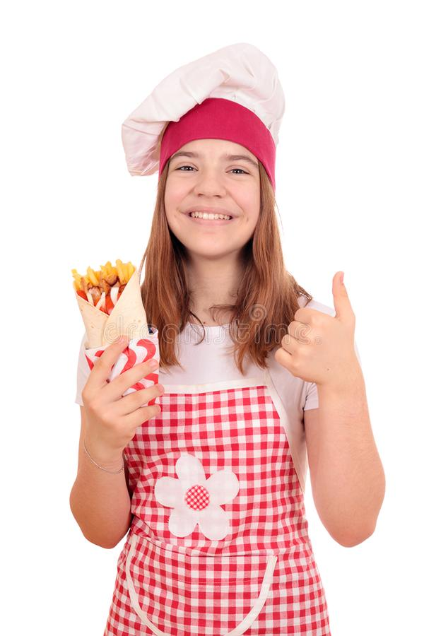 Girl cook with gyros pita fast food and thumb up royalty free stock image