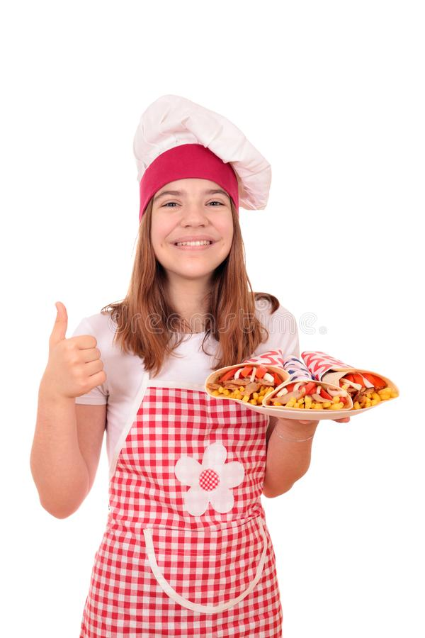 Girl cook with gyros and thumb up royalty free stock photos