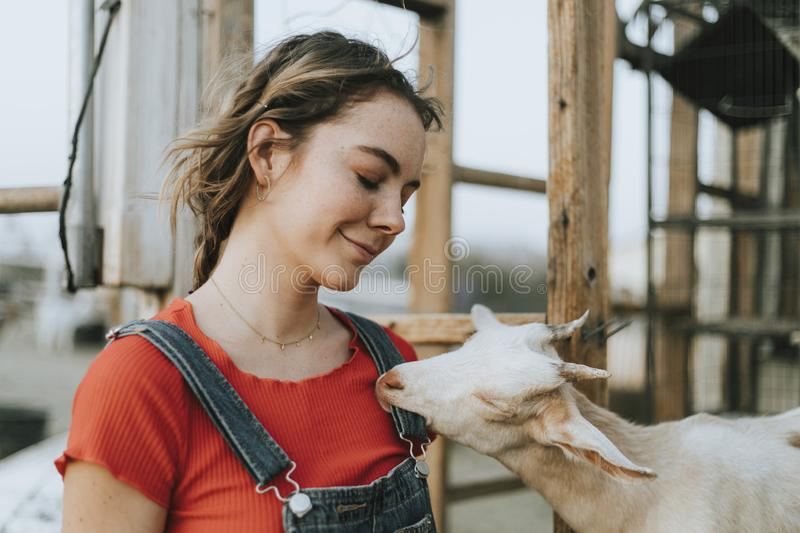 Happy girl with a cute goat stock photography