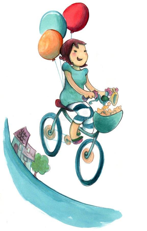 Happy girl cycling royalty free illustration