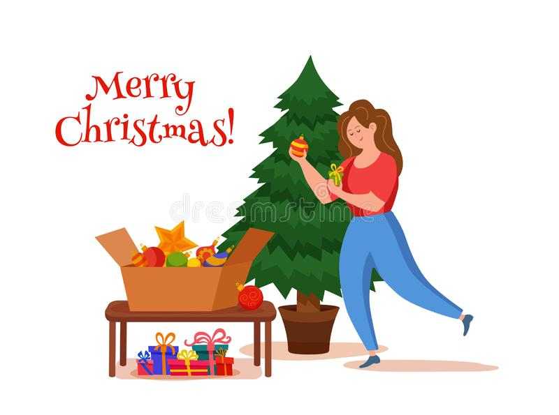Happy girl decorating Christmas tree with toys, star and garland. vector illustration