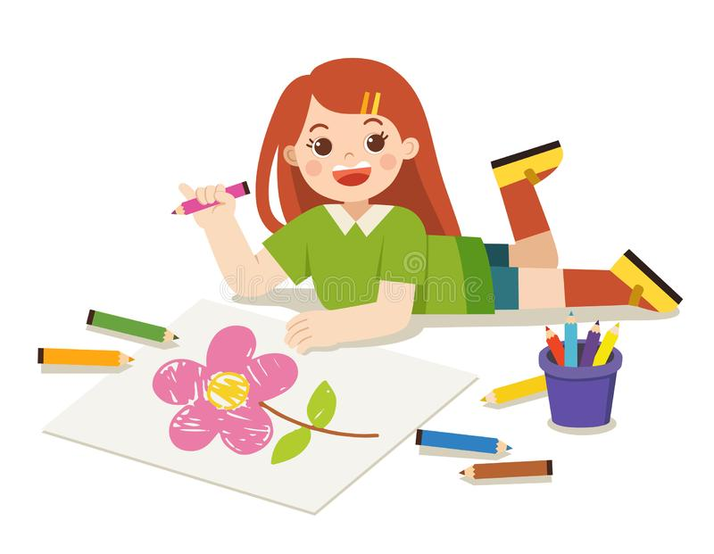 Happy Girl draw pictures and paints on floor. vector illustration