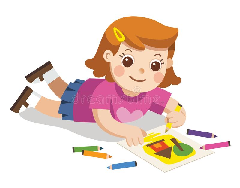 Happy Girl draw pictures pencils and paints on floor. royalty free illustration