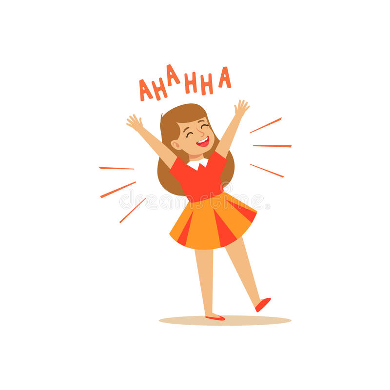 Happy girl in a dress laughing out loud colorful character vector Illustration. On a white background royalty free illustration