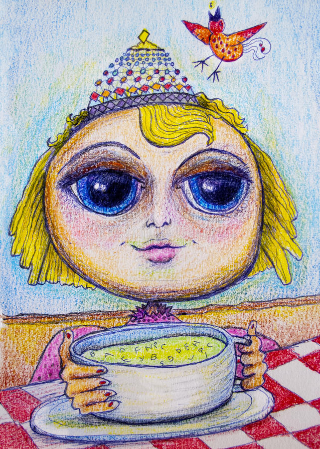 Happy girl eating soup cartoon drawing stock images