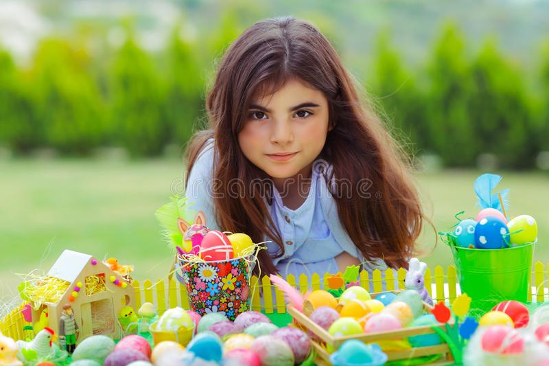 Happy girl enjoying Easter holiday stock photos