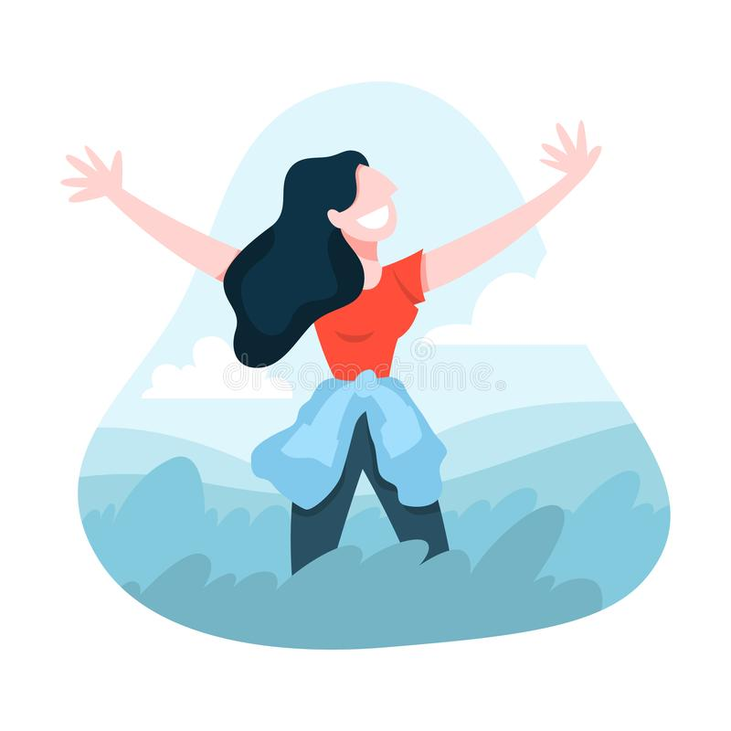 Happy girl enjoying the freedom. Female person. Spread arms wide on the nature. Outdoor activity and summer lifestyle. Isolated vector illustration in cartoon royalty free illustration