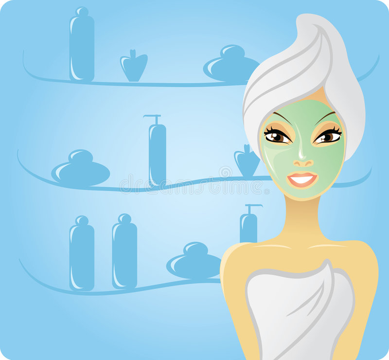 Happy girl with facial mask vector illustration