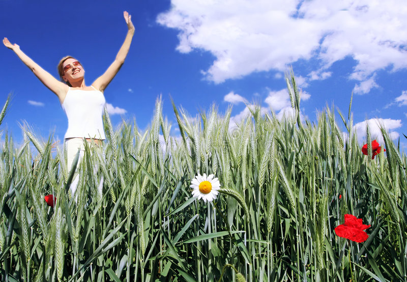 Happy girl in the field stock photos