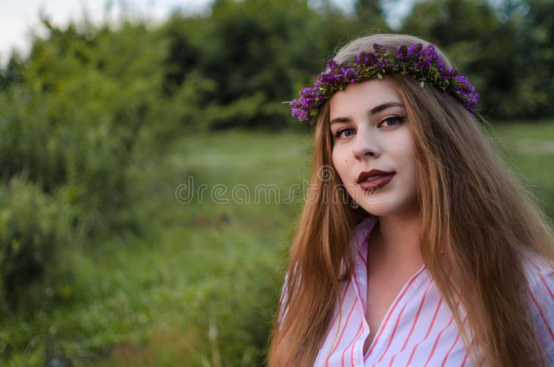 Happy girl on the field collects flowers stock photography