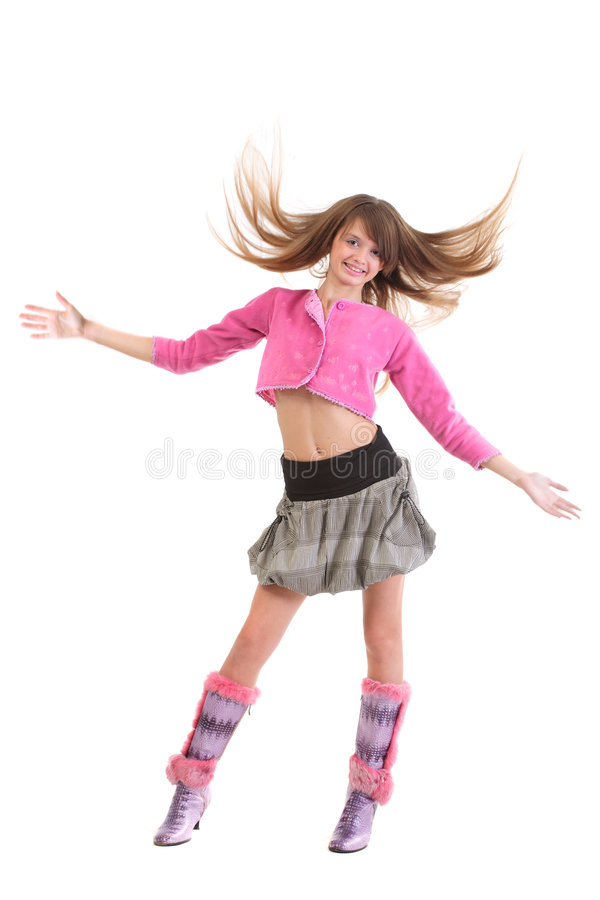 Happy girl with flying hair royalty free stock photos