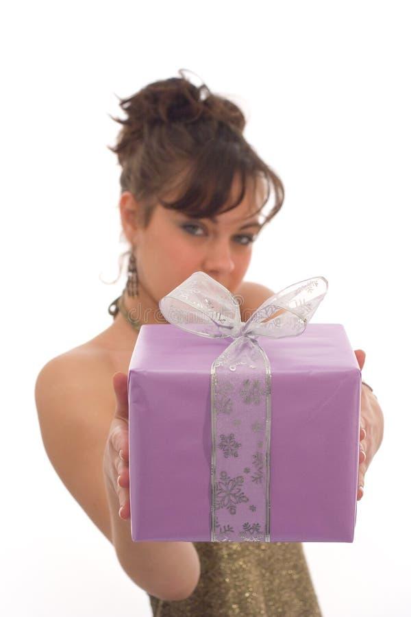 Happy girl with gift stock image